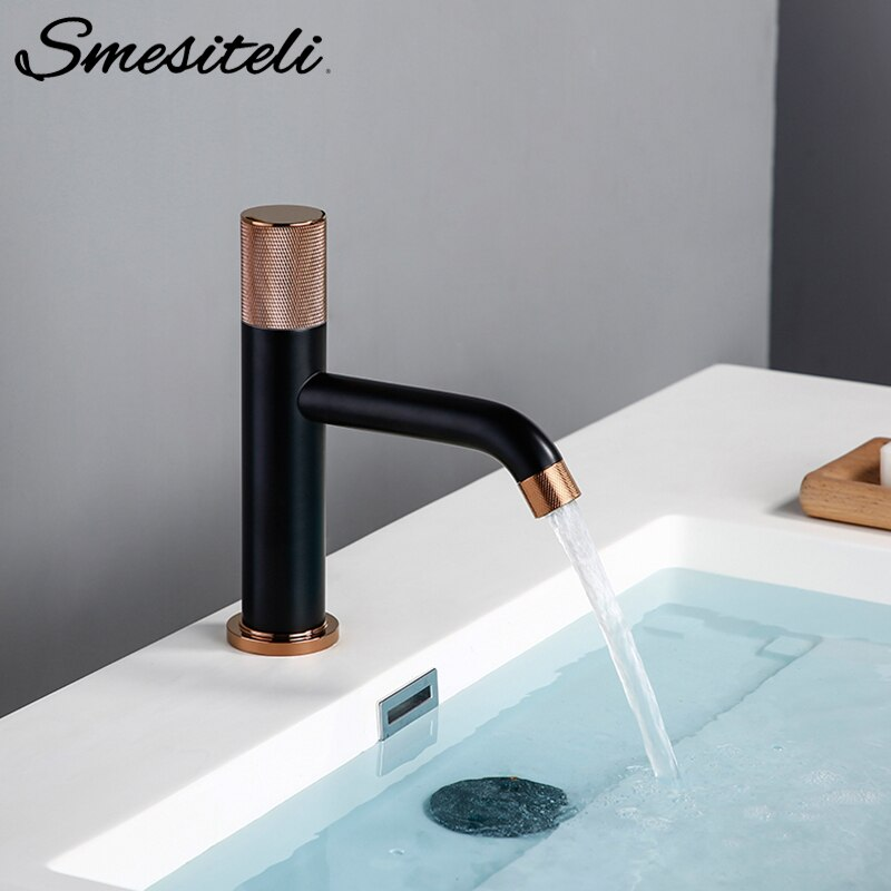 Smesiteli-صنبور حمام نحاسي ، ساخن وبارد ، مختلط ، أسود غير لامع ، ثقب واحد ، مقبض تخريش ، حوض غسيل