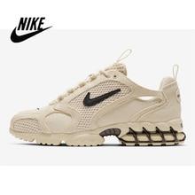 Stussy x Nike Air Zoom Spiridon Caged 2 Womens Sports Jogging Shoes Milky Black Burlap Fashion Leisure Sneakers CQ5486-200