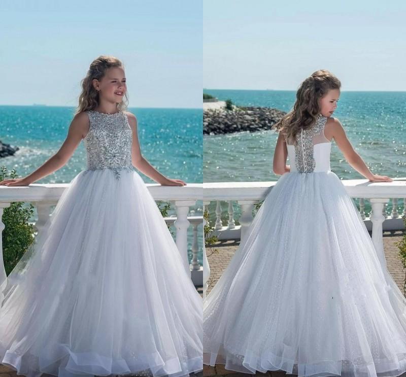 Luxury Princess Flower Girl Dress  New Design Sparkly Silver Rhinestones Beading Bodice Puffy A Line Kids Prom Dresses
