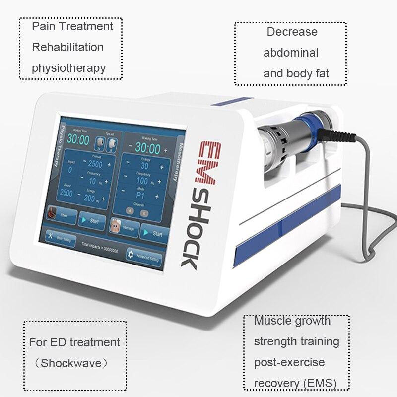 EMS y máquina de ondas de choque para el tratamiento de las articulaciones del tratamiento del dolor máquina EMS estimulación muscular Dispositivo de ondas de choque