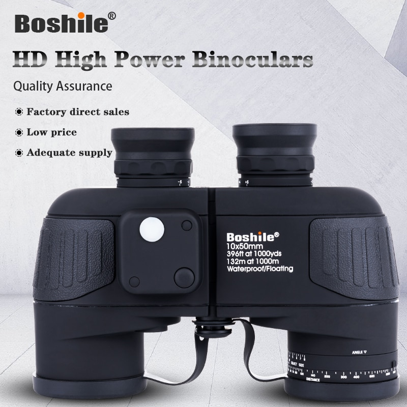 Boshile 10X50 With Compass Waterproof HD Binoculars Outdoor Tourism Navigation Telescope Three Colors Bioculars For Hunting