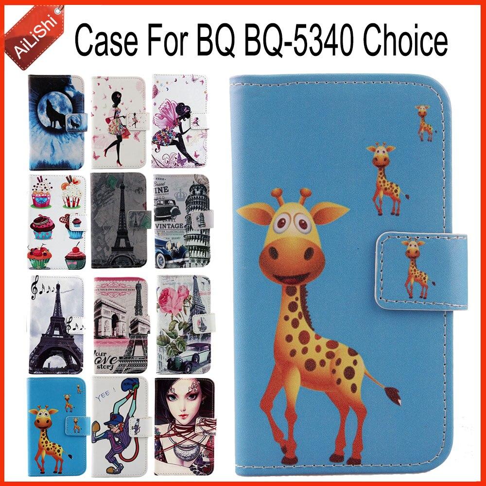 AiLiShi caso para BQ BQ-5340 Elección de lujo PU de cuero caso BQ 5340 exclusivo 100% piel de la cubierta del teléfono + número de seguimiento