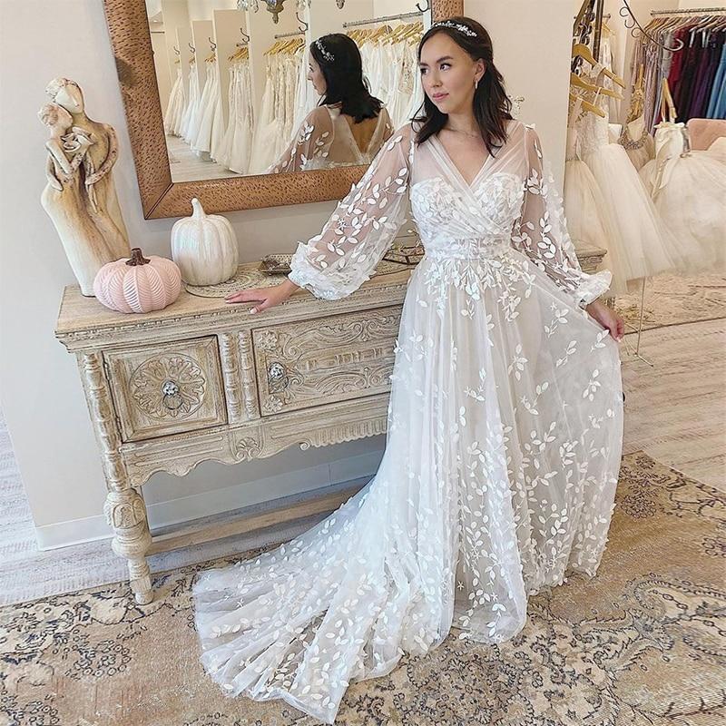 MoonlightShadow Illusion Wedding Dresses A-Line V-Neck Lantern Full Sleeves Tulle Leaf Appliques Bridal Gowns Vestido De Novia