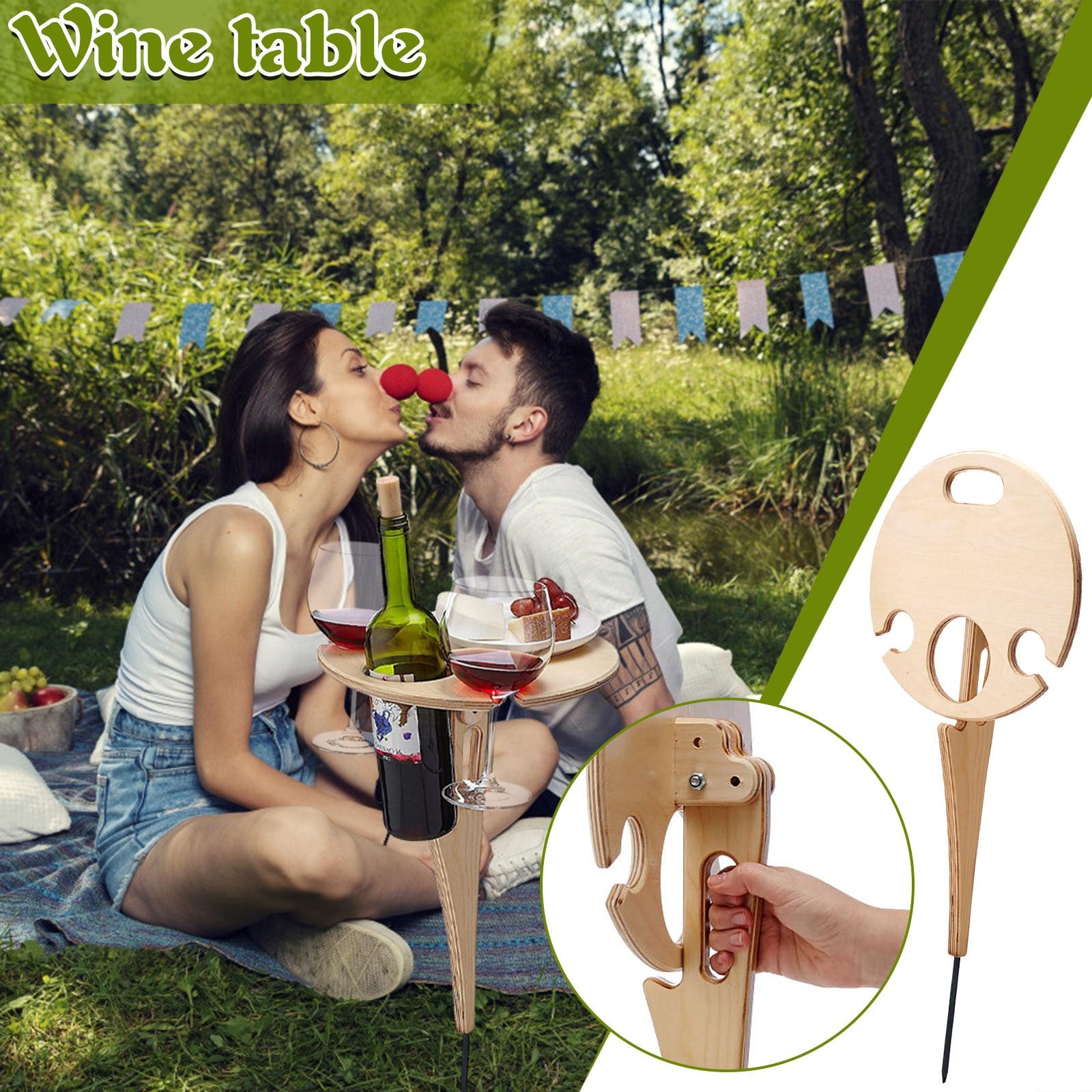 Mesa de acampada al aire libre, estante de vino portátil para pícnic...