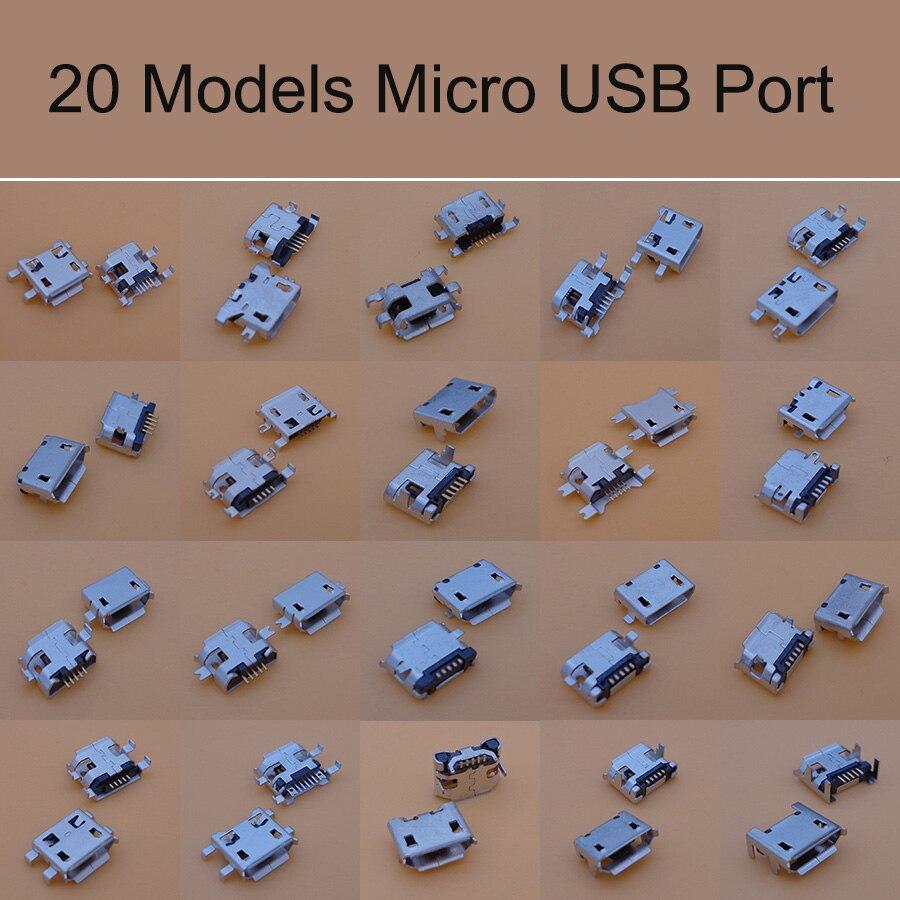 20 modelos 100 unids/lote universal Micro USB 5P Jacks USB toma de conector de carga de cola para ZTE Lenovo Huawei teléfono móvil Tablet