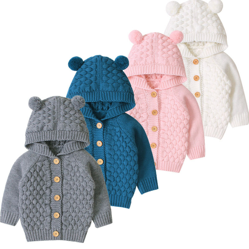 Linda oreja niño niños niñas niños bebé suéter con capucha de punto abrigo de abrigo