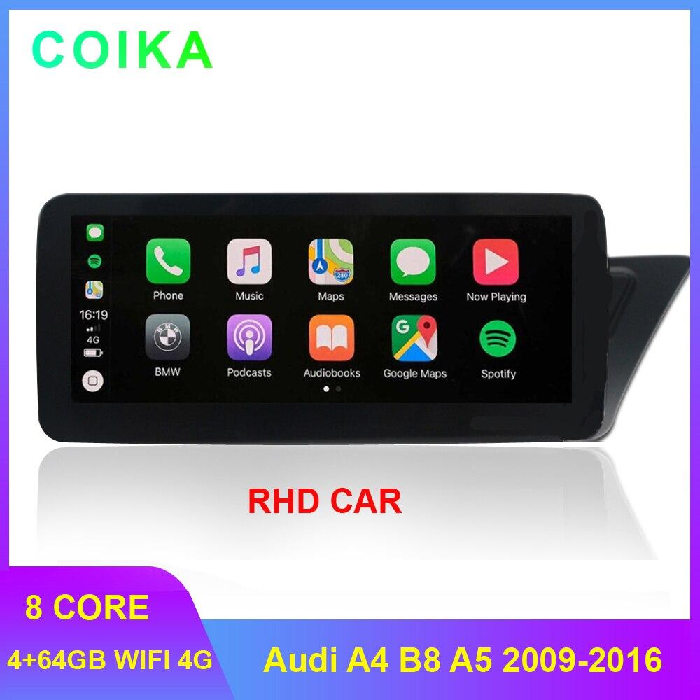 "8 Core 4 + 64G RAM coche BT, música estéreo para Audi A4 B8 A5 2009-2016 WIFI 4G LTE Google 10,25 ""Pantalla táctil IPS Radio Carplay"