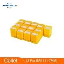 13 pièces ER11 pince mandrin support précision ressort pince 1-7MM perceuse mandrin tour outil pour CNC broche moteur fraiseuse