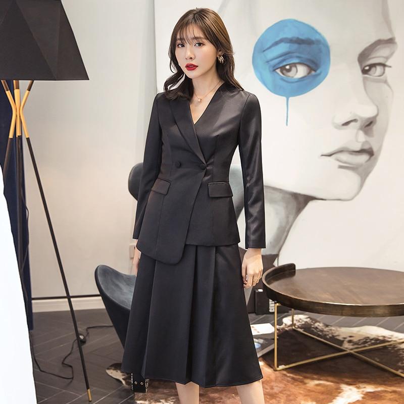 YIGELILA черные костюмы высокого качества с отложным воротником, двубортные однотонные костюмы, офисные женские костюмы с длинными рукавами и ...