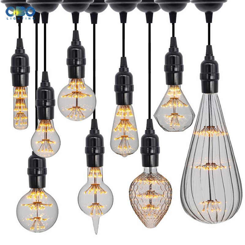 Vintage lumière LED ampoule E27 110-240V verre clair rétro lumière 2300K lumière chaude 3W pour pendnat lampe lampe de Table décoration