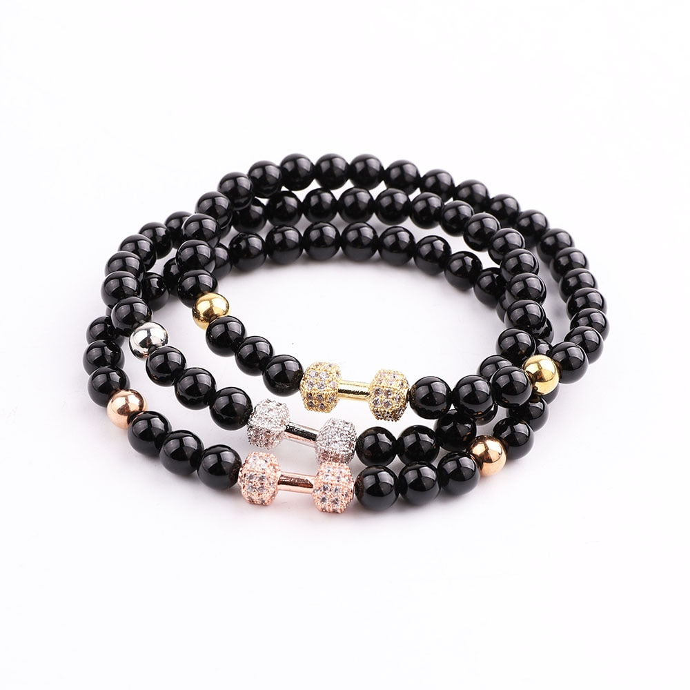 JARAVVI Classic Design Natural Stone Onyx CZ Barbell Beaded Elastic Bacelet Men Women Jewelry Gift