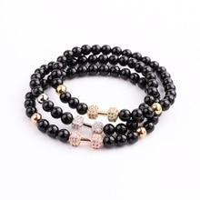 JARAVVI Classic Design Natural Stone Onyx CZ Barbell Beaded Elastic Bacelet Men Women Jewelry Gift