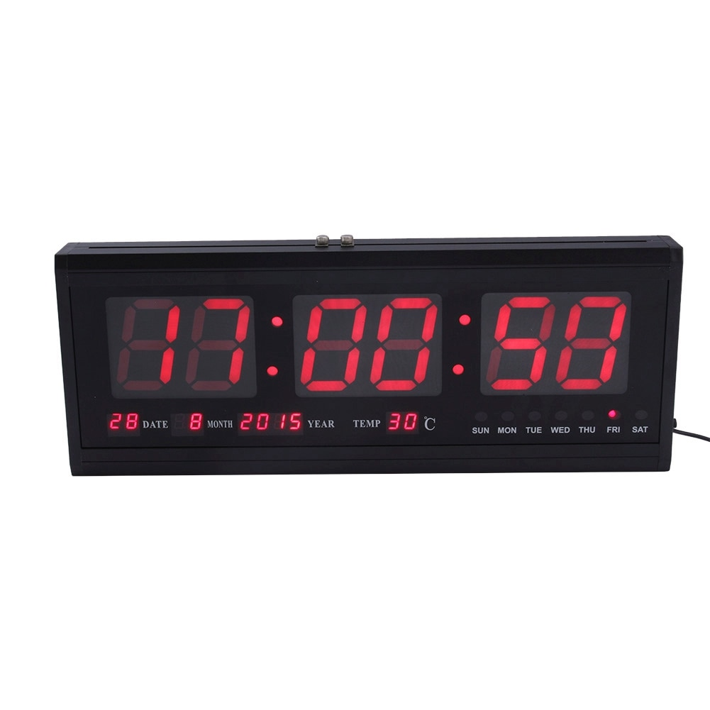 48 см цифровые настенные часы с большим LED календарем и температурой настольные часы светодиодные настенные часы с европейской вилкой