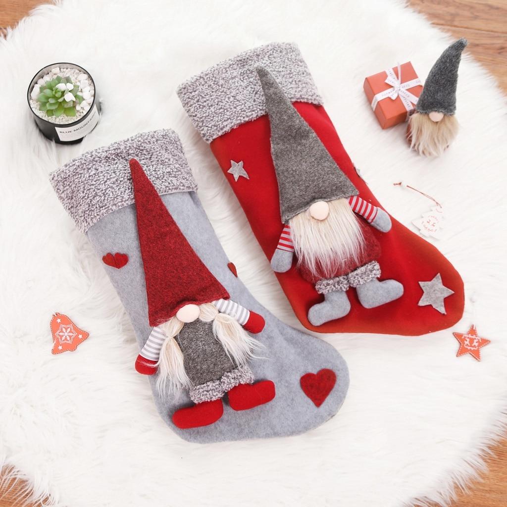 Adornos navideños muñeco sin rostro calcetines de Navidad bolsa de dulces bolsa de regalo adornos de árbol de Navidad colgante #