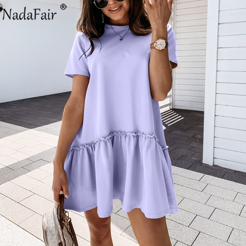 Nadafair O Neck A-linie Rüschen Lose Beiläufige Strand Mini Sommer Kleider Lila Khaki Solide T Shirt Kleid Frauen