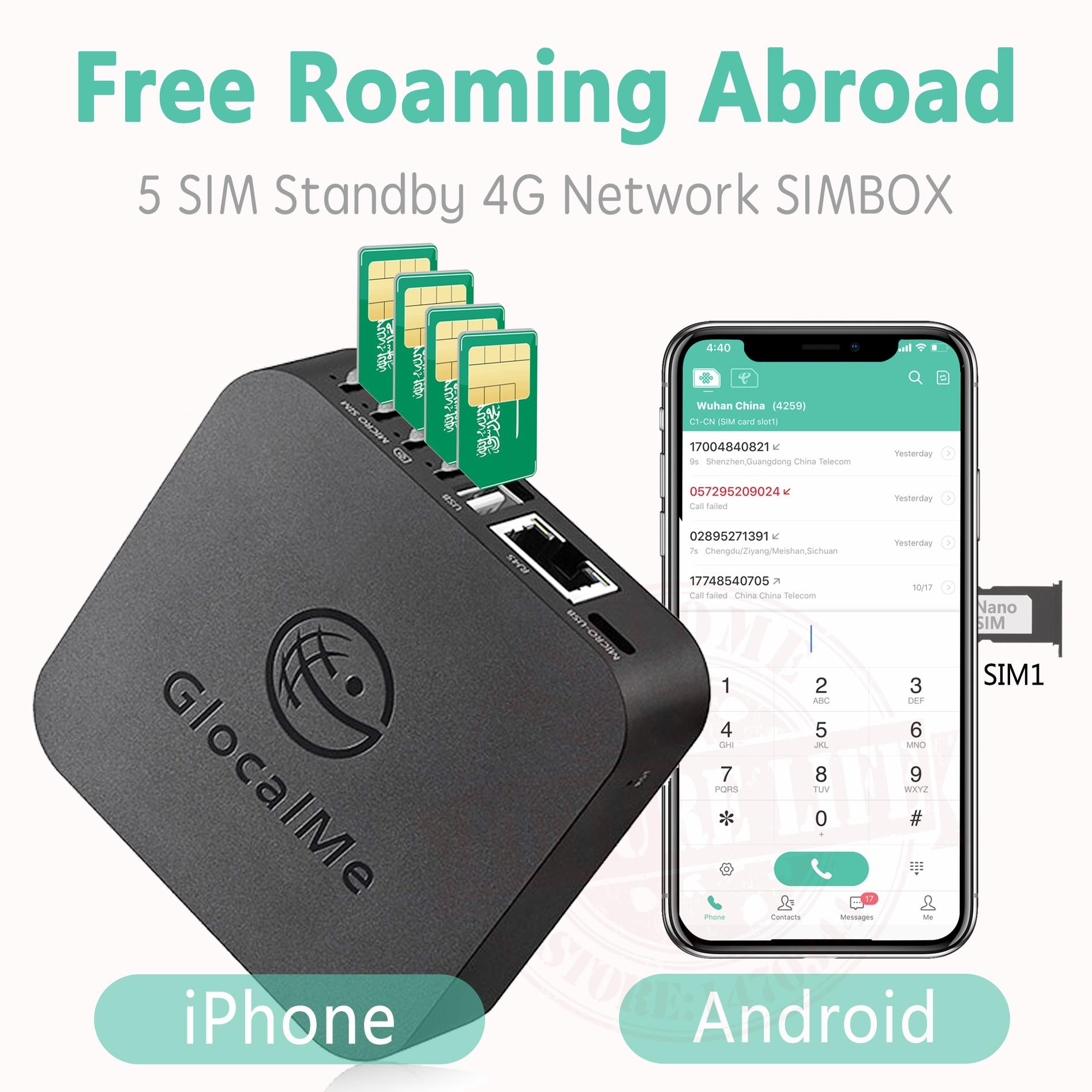 Glocalme-SIMBOX 4G SIM 2021 ، بطاقات SIM متعددة ، غير قابلة للتأرجح في الخارج ، لنظامي iOS و Android ، WiFi / Data لإجراء مكالمات وإرسال رسائل نصية قصيرة