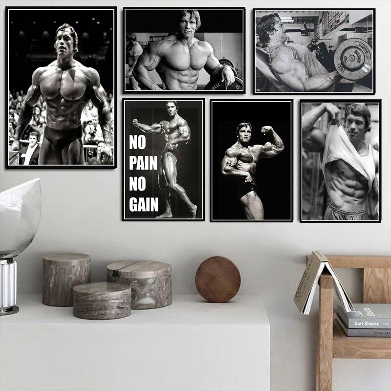 Póster impreso pintura al óleo Arnold Schwarzenegger gimnasio de musculación entrenamiento pared imágenes artísticas decoración del hogar