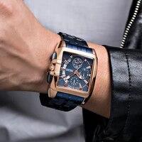 megir men watches top brand luxury stainless steel blue waterproof quartz watch men fashion chronograph sport military watch