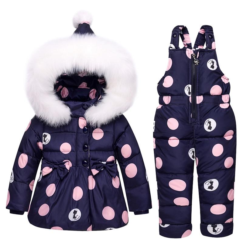 2021 الشتاء دعوى الأطفال طفل رضيع فتاة بطة أسفل سترة معطف السراويل 2 قطعة الملابس الدافئة مجموعة الحرارية الاطفال الملابس الثلوج ارتداء