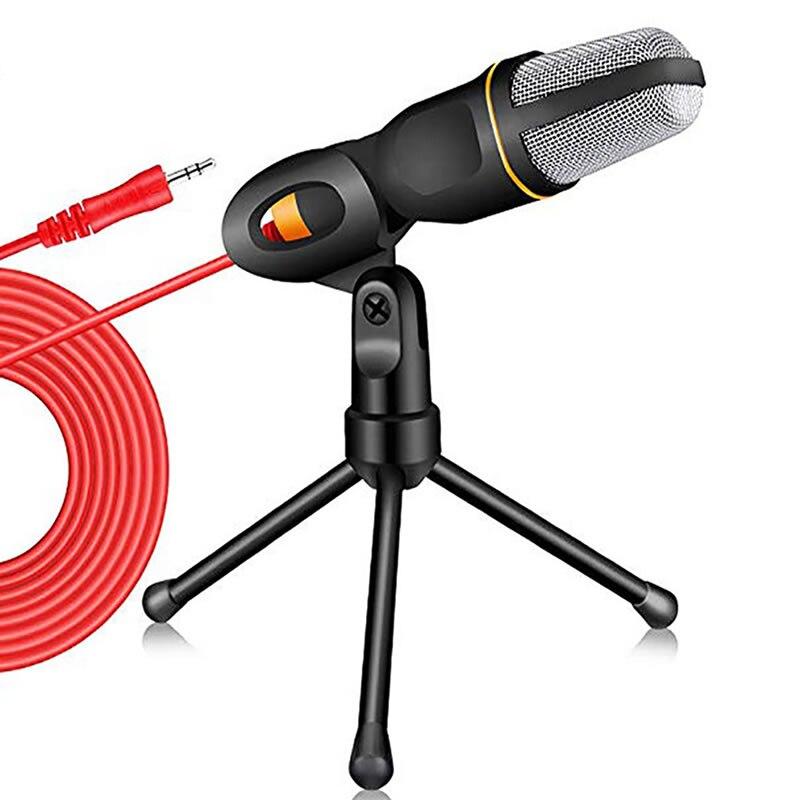Kondensator Mikrofon 3,5mm Stecker Home Stereo MIC Desktop Stativ für PC Video Skype Chat Gaming Podcast Aufnahme