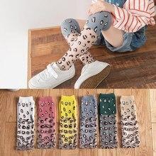 Носки для маленьких девочек Дышащие длинные носки с леопардовым принтом мягкие гетры для младенцев