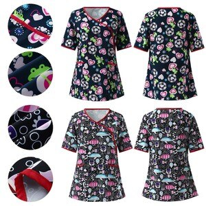 Floral Printing Spa Uniform Women Beauty And Health Tops Beauty Salon Work Uniform Beauty Salon working Uniforms Tops Workwear
