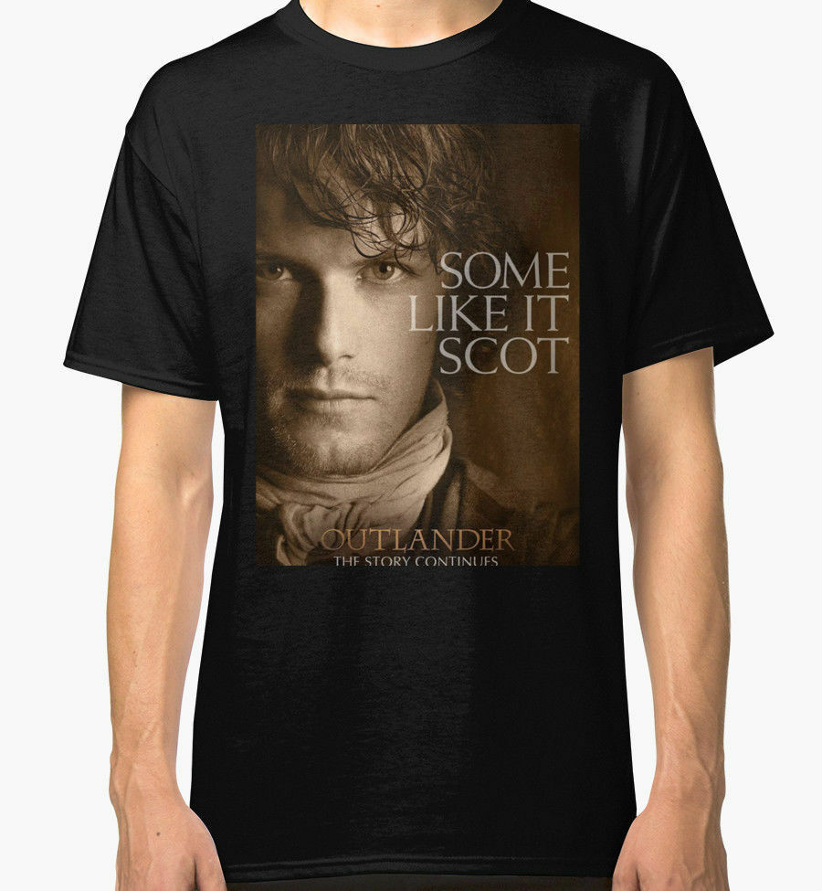 New Jamie Fraser Outlander Mens Black Tees Shirt Clothing