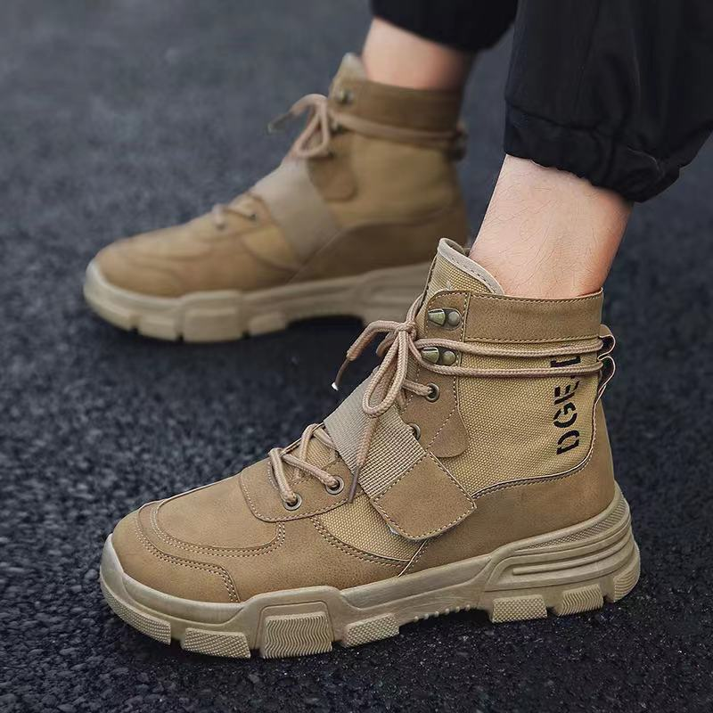 Autumn and winter explosion models high-top all-match Martin boots fashion tooling shoes Korean casual British retro shoes the new winter boots leather men and retro zipper flat all match martin boots casual shoes breathable handmade fashion british