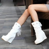 2021 wedge women boots autumn shoes woman platform mid calf high heel boots fashion gothic lady shoes
