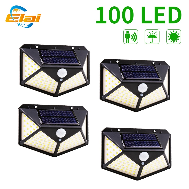 100 LED Solar Lights Outdoor 3 Mode Human Sensor Solar Lamp PIR Motion Sensor Wall Lamp For Garden Pathway Street Lighting Light