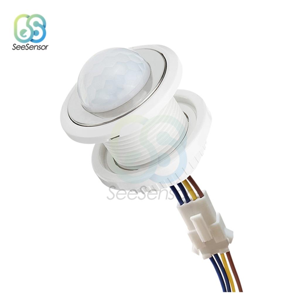 85-265V hogar Interior Exterior luz infrarroja Sensor de movimiento retardo de tiempo ajustable iluminación del hogar interruptor PIR Led sensible lámpara de noche