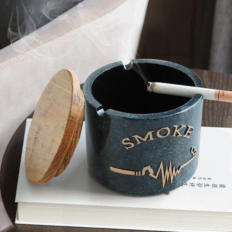 Смоляная пепельница с защитой от ветра и крышкой, настольный подарок для друзей, отеля, для украшения дома, Бездымная пепельница