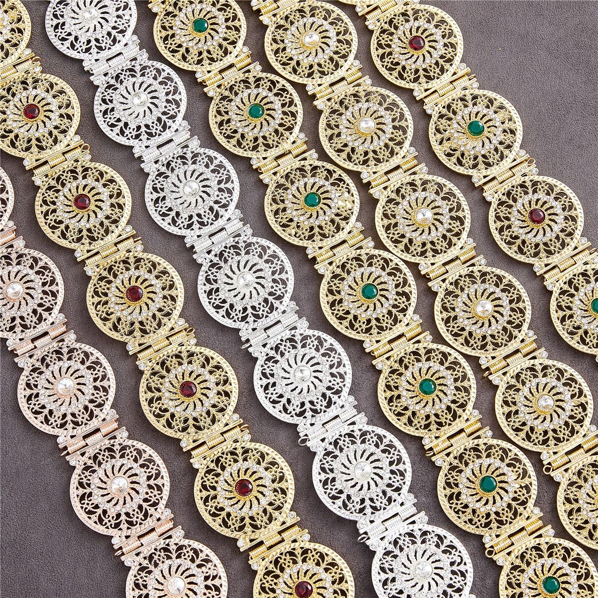 2021 يوليو الجزائر المغربي شيك قفطان الزفاف الذهب والفضة اللون المعادن الفاخرة حزام للنساء حزام سلسلة قابل للتعديل طول