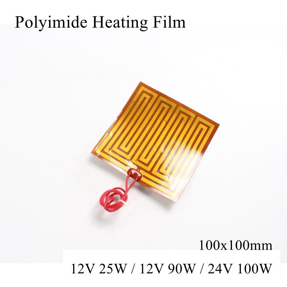 100X100Mm 12V 25W 12V 90W 24V 100W Pi Verwarming Film Plaat polyimide Elektrische Verwarmde Panel Pad Mat Electrotherma Flexibele Heater