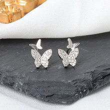 Prevent allergy 925 Sterling Silver Zircon Butterfly Stud Earrings For Women Jewelry Accessories Pen