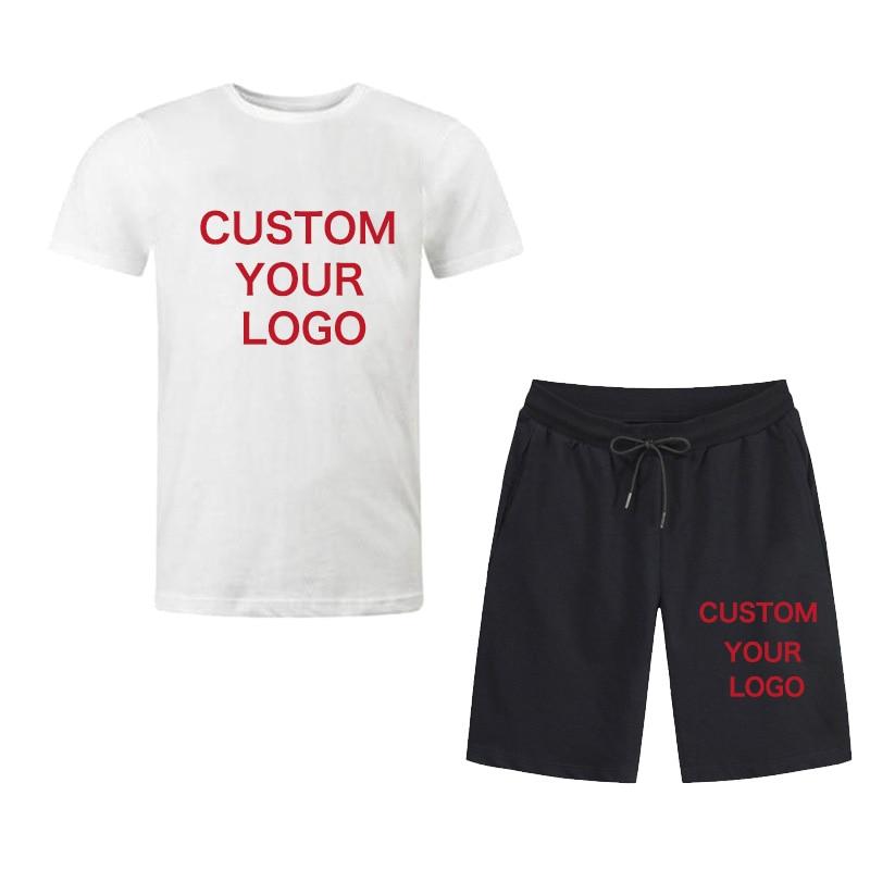 Men Sportswear Sets Casual Fashion 2 PCS Short Sleeve T-shirt Shorts Sets Male Tracksuit Summer Sportsuit