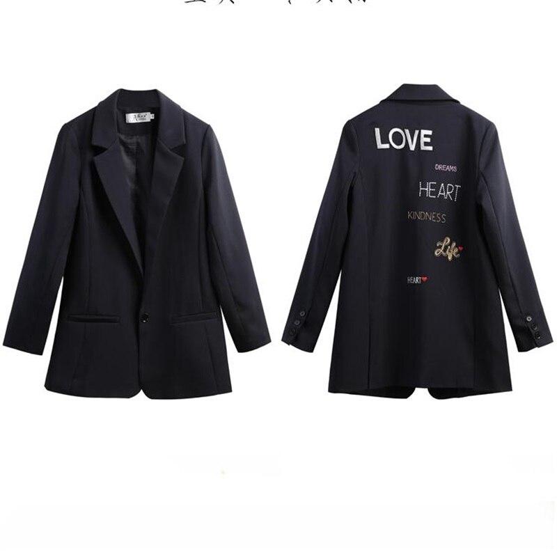 2019 primavera y otoño nueva chaqueta Coreana de mujer de sección larga de alta gama bordado chaqueta pequeña suelta delgada chaquetas casual