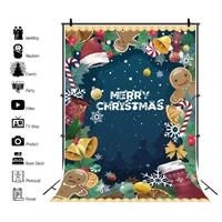 cartoon christmas background baby child portrait photography backdrop winter snow scene bells snowflake pattern photocall poster