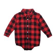 Vêtements de printemps unisexe pour bébés filles   Combinaison une pièce, barboteuse à carreaux, pour noël, nouveau-né
