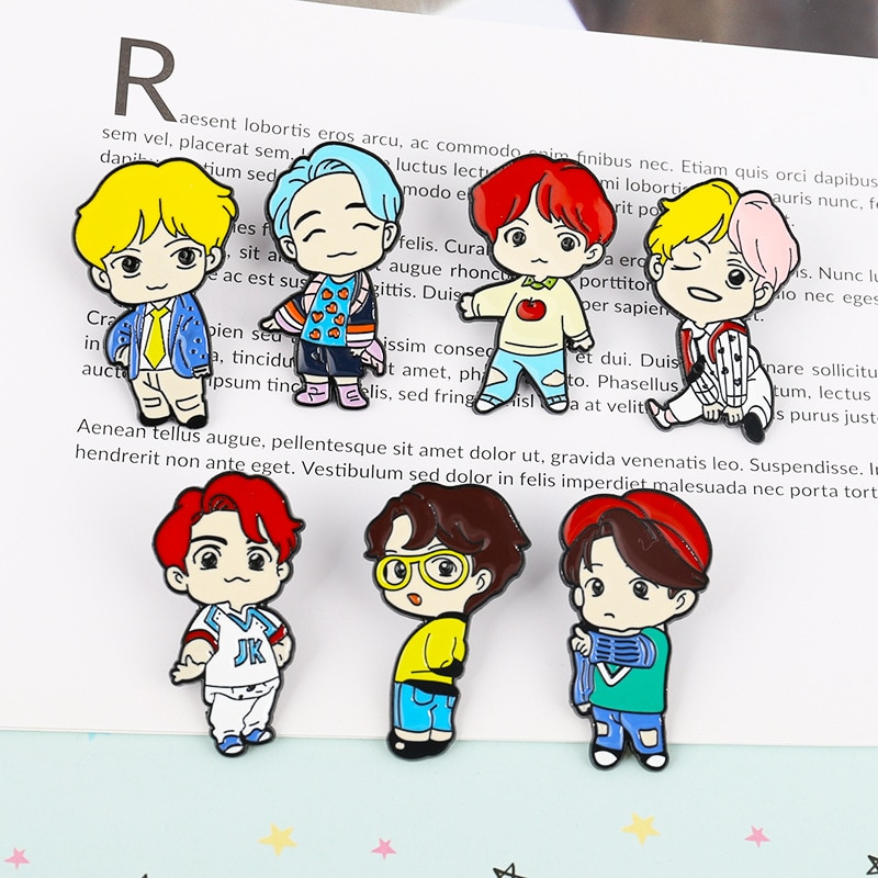 B S T S Bangtan niños RM Jin Suga JHope Jimin V Jungkook broche Pines de esmalte estrella Kpop ídolo lindo ejército insignia de regalo ARMT Pins Gift Merch