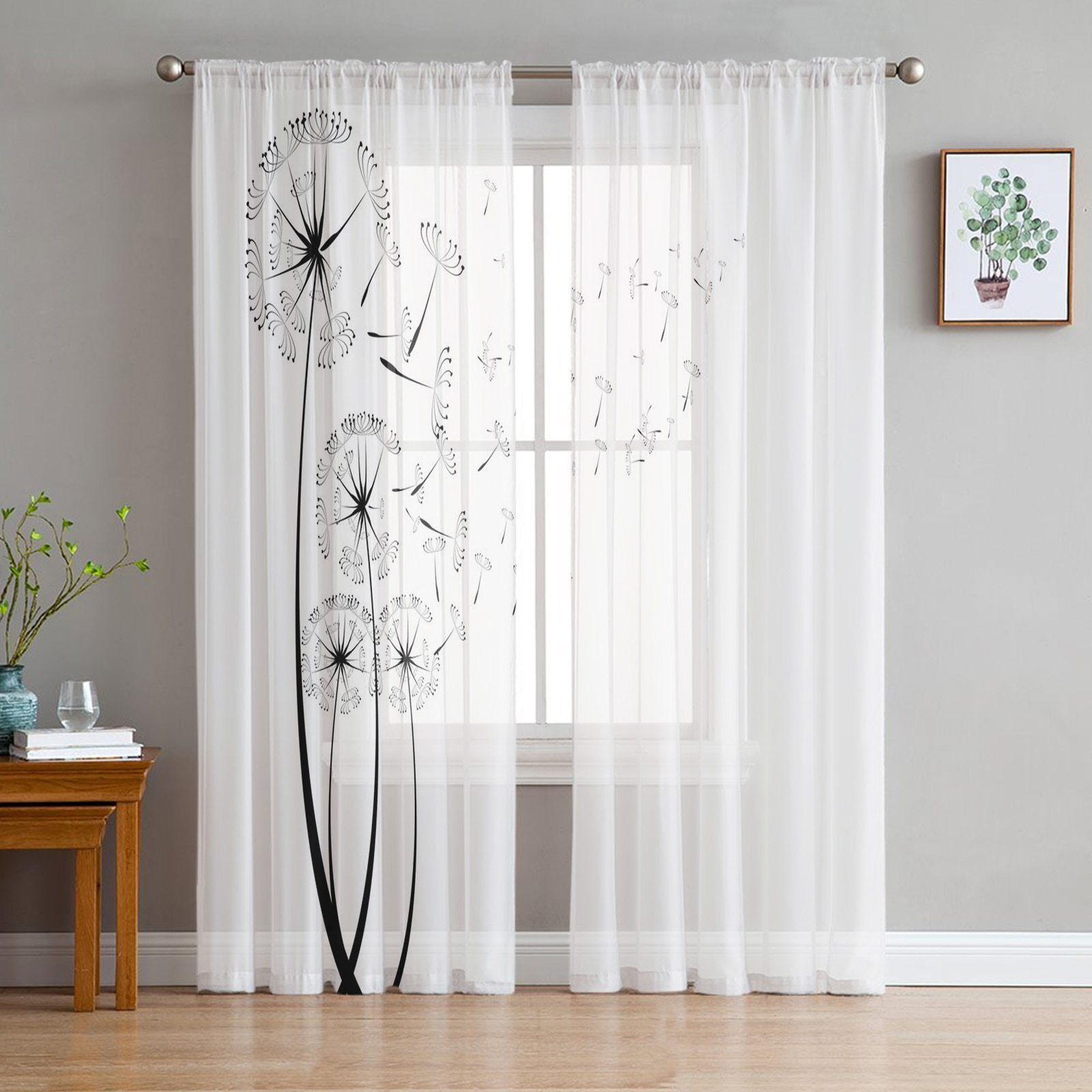 Одуванчик, цветок, растительный парик, прозрачная занавеска для гостиной, спальни, кухни, Современная Тюлевая оконная обработка, домашний декор