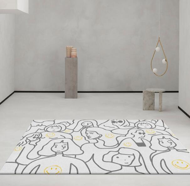 الشمال شخصية ديكور المنزل عدم الانزلاق السجاد مجردة الفن خط طلاء السجاد نمط لغرفة النوم مخصصة السرير الكلمة حصيرة