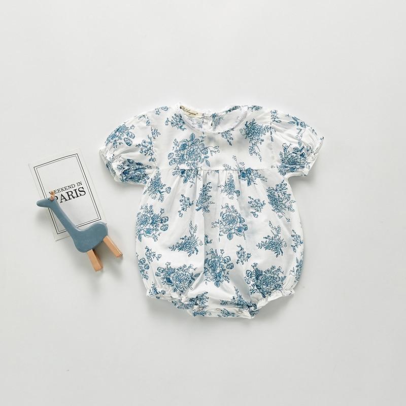 MILANCEL 2020 ropa de bebé niña azul flor bebé monos con manga corta bebé niñas traje