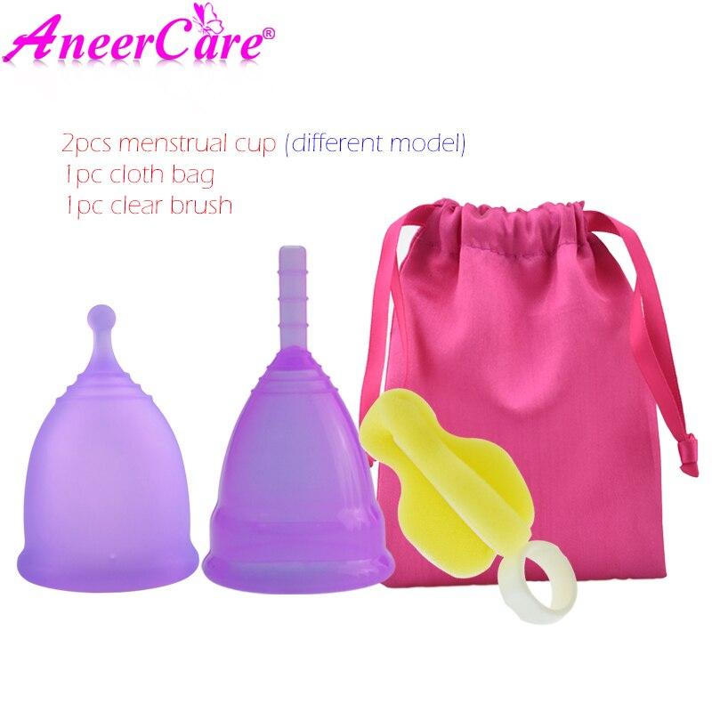 Copa Menstrual de silicona de grado médico, higiene femenina, Copa Menstrual de silicona de 2 uds.