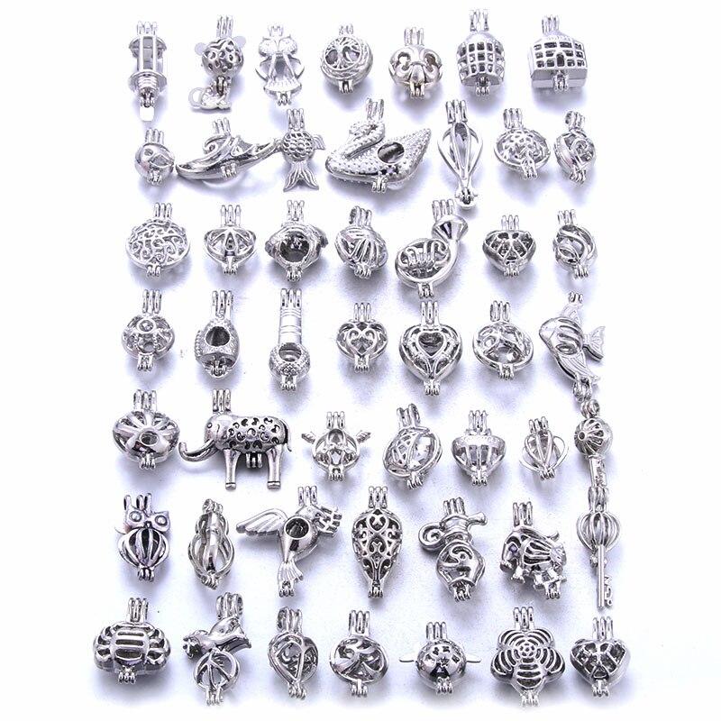 10 pçs chave antiga amor coração forma liga medalhão pérola gaiola pingente para diy difusor de óleo essencial colar acessórios