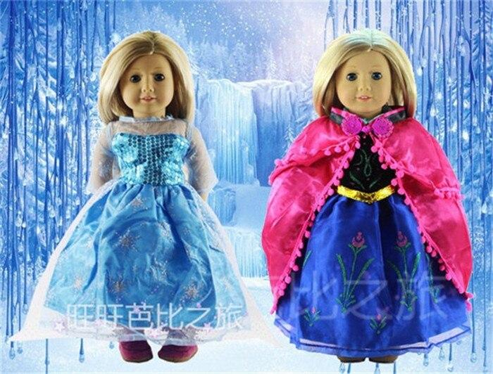 2 conjunto de moda elsa e anna vestido de princesa roupa para 18 Polegada boneca