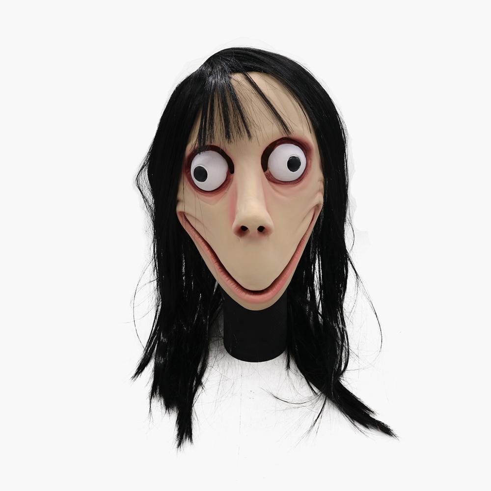 Accesorio de Halloween Momo disfraz de Hacking máscara de Momo juego de miedo máscara de látex máscara de cabeza completa con pelo
