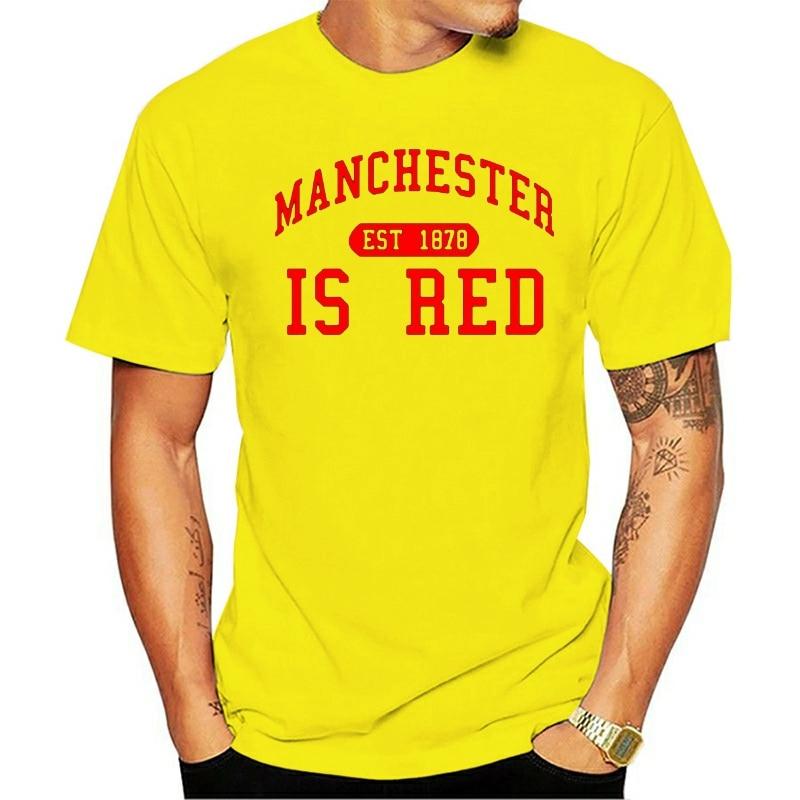 Nueva camiseta roja del Reino Unido 2020, camisetas con estampado de letras de Manchester, camiseta Masculina de cuello redondo de algodón para hombres