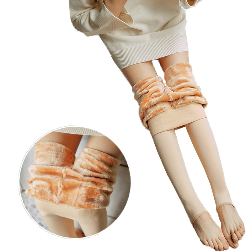 Pantimedias de lana abrigadas para invierno, pantis elásticos de nailon para mujer, medias gruesas de terciopelo con cintura alta elástica