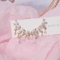 hot sale temperament tassel women stud earring 14k real gold plated bohemia zircon pearl earring brincos birthday gift pendant